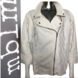 MBLM White Denim Moto Jacket Plus Size 3X